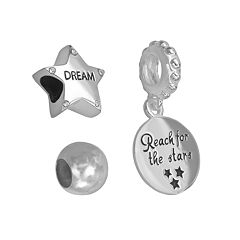 Individuality Beads Sterling Silver Crystal 'Dream' Star Bead & 'Reach For The Stars' Disc Charm Set