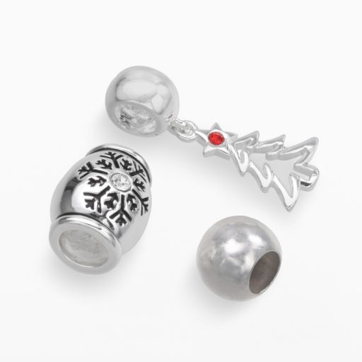 Individuality Beads Sterling Silver Crystal Snowflake and Spacer Bead and Christmas Tree Charm Set