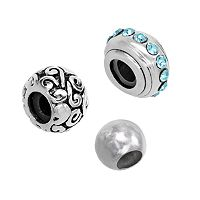 Individuality Beads Sterling Silver Crystal Stopper, Swirl & Spacer Bead Set