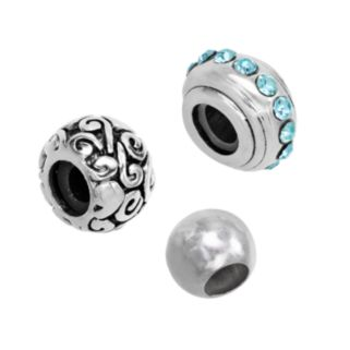 Individuality Beads Sterling Silver Crystal Stopper, Swirl and Spacer Bead Set
