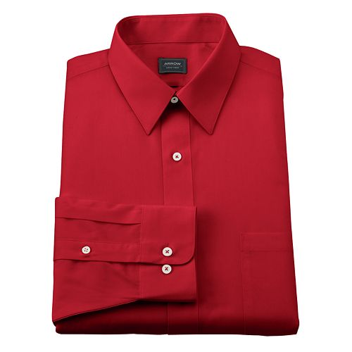 Arrow classic fit solid poplin no iron point collar dress for No iron shirts mens