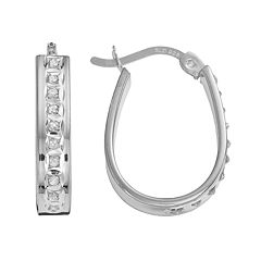 Diamond Mystique Platinum Over Silver Diamond Accent Pear Hoop Earrings