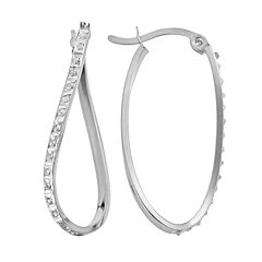 Diamond Mystique Platinum Over Silver Diamond Accent Twist Oval Hoop Earrings