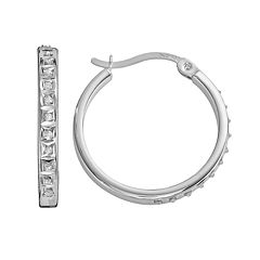 Diamond Mystique Platinum Over Silver Diamond Accent Hoop Earrings
