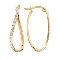 Diamond Mystique 18k Gold Over Silver Diamond Accent Twist Oval Hoop Earrings
