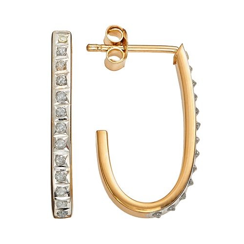 Diamond Mystique 18k Gold Over Silver Diamond Accent J-Hoop Earrings