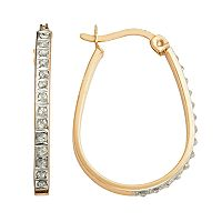 Diamond Mystique 18k Gold Over Silver Diamond Accent Pear Hoop Earrings