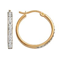 Diamond Mystique 18k Gold Over Silver Diamond Accent Hoop Earrings