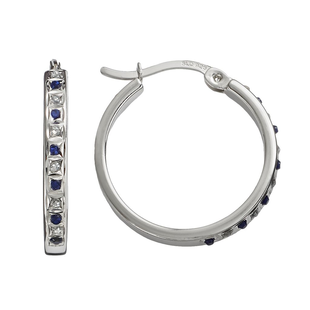 Diamond Mystique Platinum Over Silver Sapphire & Diamond Accent Hoop Earrings