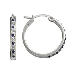 Diamond Mystique Platinum Over Silver Sapphire & Diamond Accent Hoop Earrings