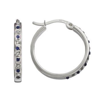 Diamond Mystique Platinum Over Silver Sapphire and Diamond Accent Hoop Earrings