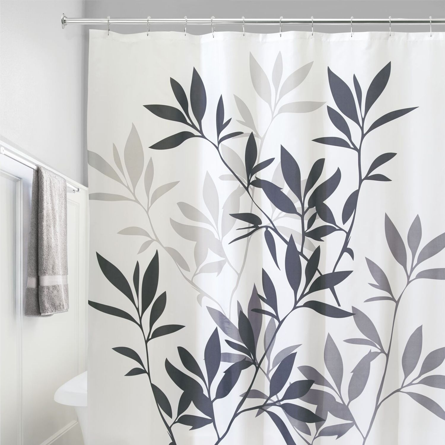 Leaves Fabric Shower Curtain. Brown Black Gray