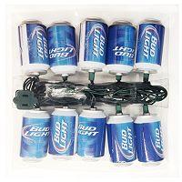 Kurt Adler 10-Light Bud Light Beer Can Christmas Light Set