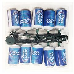 Kurt Adler 10-Light Bud Light Beer Can Christmas Light Set
