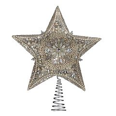 Kurt Adler Platinum Glitter Star Christmas Tree Topper