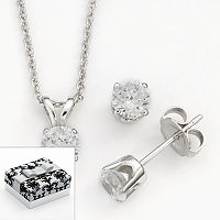 DiamonLuxe Sterling Silver Simulated Diamond Solitaire Pendant & Stud Earring Set