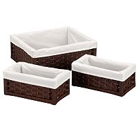 Household Essentials 3 pc Lined Wicker Utility Basket Set