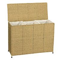 Household Essentials Wicker Triple Laundry Sorter