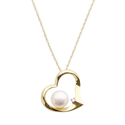 10k Gold Freshwater Cultured Pearl & Diamond Accent Heart Pendant