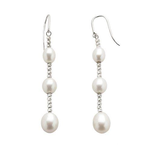 Sterling Silver Freshwater Cultured Pearl Graduated Linear Drop Earrings