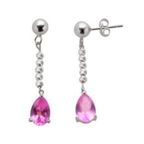 Sterling Silver Lab-Created Pink Sapphire Linear Teardrop Earrings