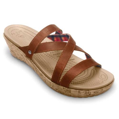 Crocs A-Leigh Leather Wedge Sandals - Women