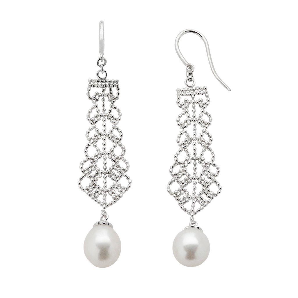 Sterling Silver Freshwater Cultured Pearl Linear Drop Earrings