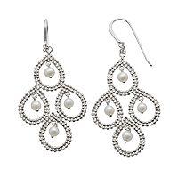 Sterling Silver Freshwater Cultured Pearl Kite Earrings