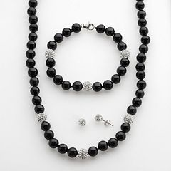 Sterling Silver Onyx & Crystal Bead Necklace, Bracelet & Stud Earring Set