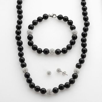 Sterling Silver Onyx & Crystal Bead Necklace, Bracelet & Stud Earring Set