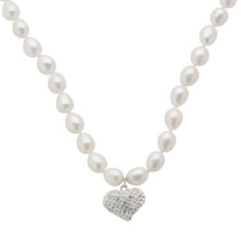 Sterling Silver Freshwater Cultured Pearl and Crystal Heart Pendant