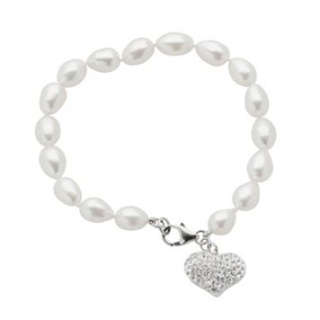 Sterling Silver Freshwater Cultured Pearl & Crystal Heart Charm Bracelet