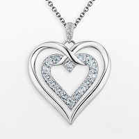 Two Hearts Forever One Sterling Silver Sky Blue Topaz & Diamond Accent Double Heart Pendant