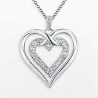 Two Hearts Forever One Sterling Silver Sky Blue Topaz and Diamond Accent Double Heart Pendant