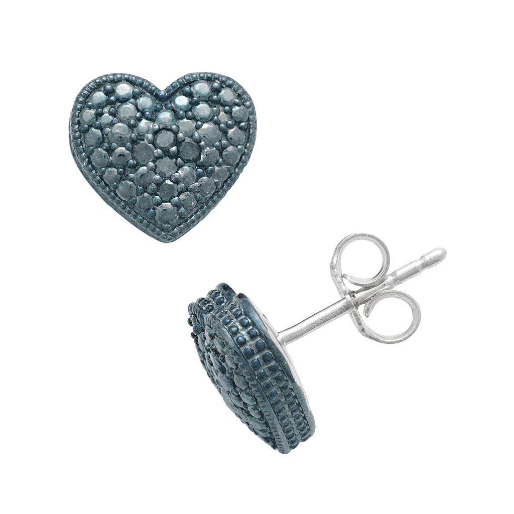 Sterling Silver 1/10-ct. T.W. Blue Diamond Heart Stud Earrings
