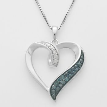 Sterling Silver 1/10-ct. T.W. Blue and White Diamond Ribbon Heart Pendant