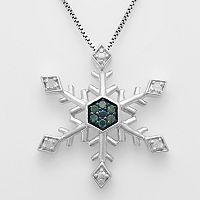 Sterling Silver 1/10-ct. T.W. Blue & White Diamond Snowflake Pendant