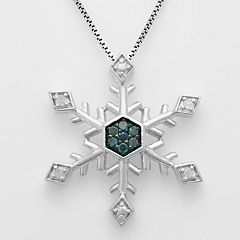 Sterling Silver 1/10 ctT.W. Blue & White Diamond Snowflake Pendant