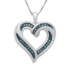 Sterling Silver 1/4-ct. T.W. Blue Diamond Ribbon Heart Pendant