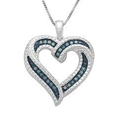 Sterling Silver 1/4 ctT.W. Blue Diamond Ribbon Heart Pendant