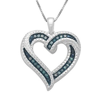 Sterling silver 14 ct tw blue diamond ribbon heart pendant tw blue diamond ribbon heart pendant mozeypictures Image collections
