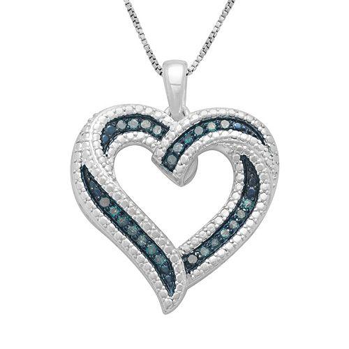 Sterling Silver 1/4-ct. T.W. Blue Diamond Ribbon Heart Pendant