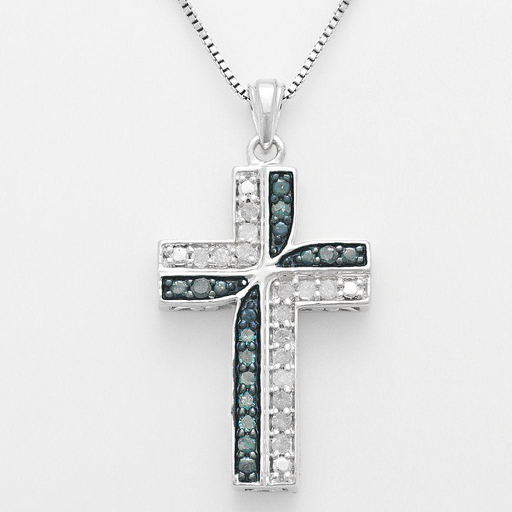 Sterling Silver 1/4-ct. T.W. Blue & White Diamond Cross Pendant