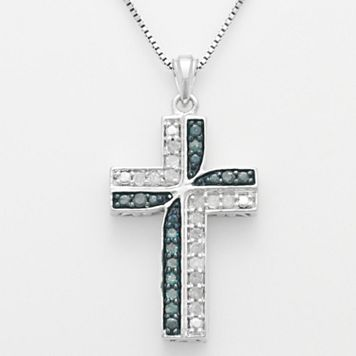Sterling Silver 1/4-ct. T.W. Blue & White Diamond Cross Pendant