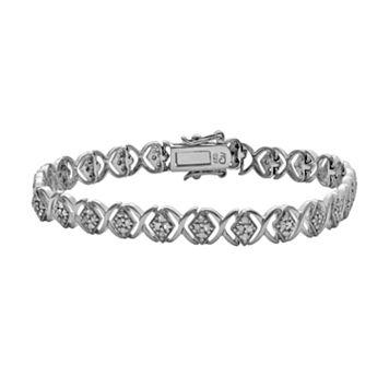 Sterling Silver 1-ct. T.W. Diamond Crisscross Bracelet