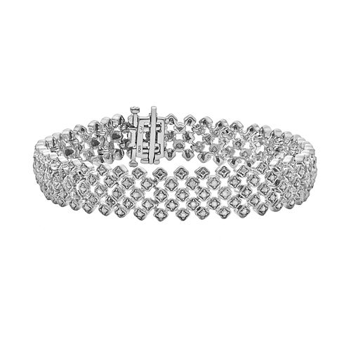 Sterling Silver 1-ct. T.W. Diamond Mesh Bracelet