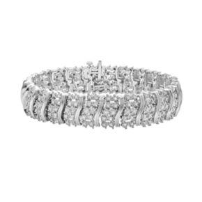Sterling Silver 2-ct. T.W. Diamond Curved Link Bracelet