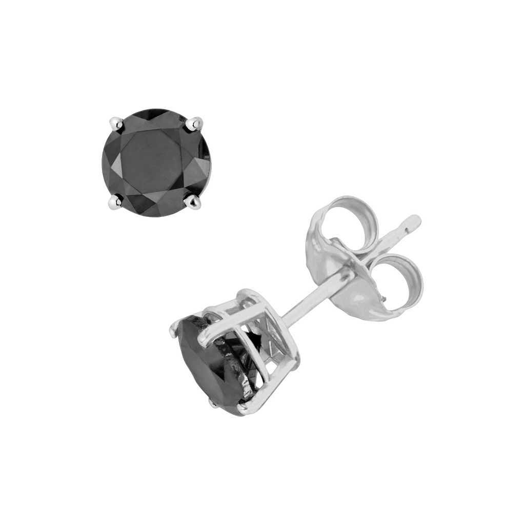 10k White Gold 1/4-ct. T.W. Round-Cut Black Diamond Stud Earrings