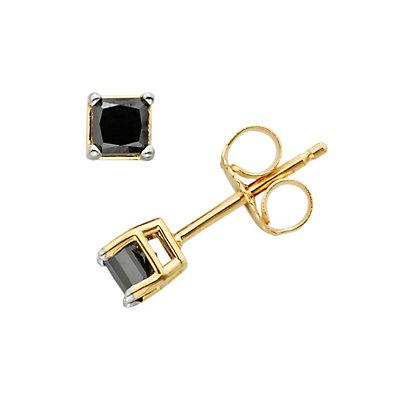 10k Gold 1/4-ct. T.W. Princess-Cut Black Diamond Stud Earrings