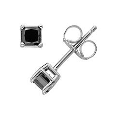 10k White Gold 1/4 ctT.W. Princess-Cut Black Diamond Stud Earrings